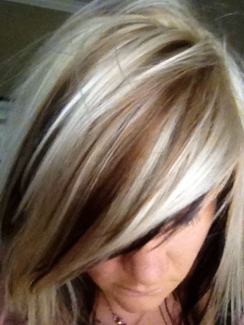 Blonde hair with dark lowlights by Kalee | hairstyles | Pinterest