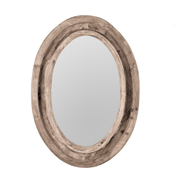 Rustic finish oval mirror - Oval wall decor ...