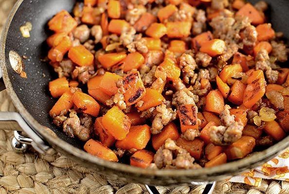 Maple Sweet Potato Hash - I made this with bacon instead of sausage ...