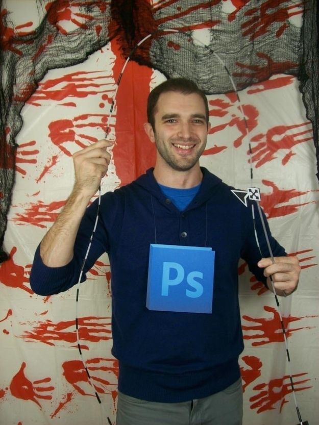 A light blue placard against a navy background makes a Photoshop costume for the lazy. | 31 Insanely Clever Last-Minute Halloween Costumes