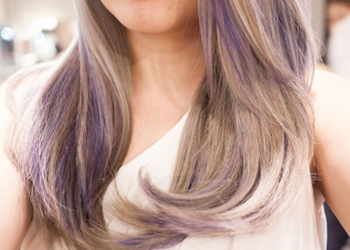 Light Brown Hair with Purple Highlights | Make-up, nails ...