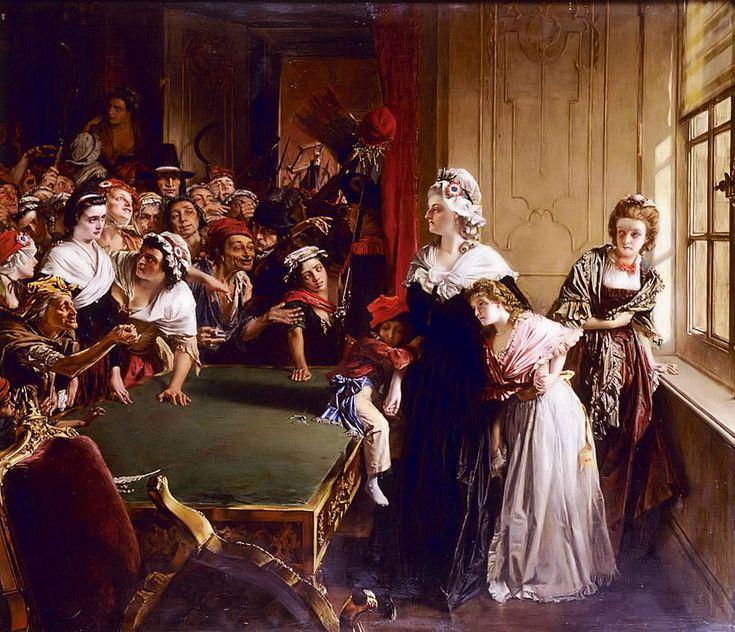Marie Antoinette with her children and Madame Élisabeth, when the mob broke into the Tuileries Palace on 20 June 1792.