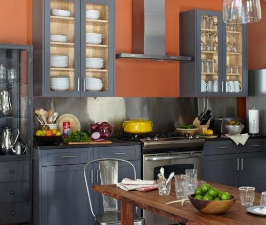 Transitional L shaped Peach kitchen, grey cabinets, Champalimaud