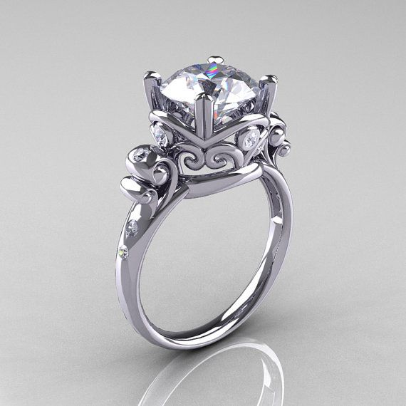 Modern Vintage 14K White Gold 25 Carat White by artmasters on Etsy, $1249.00