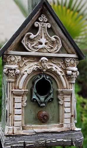 Ornate birdhouse.