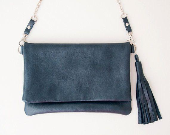 Navy Blue Leather Purse Crossbody Bag  Clutch