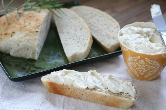 Rosemary bread and cream cheese butter herb spread