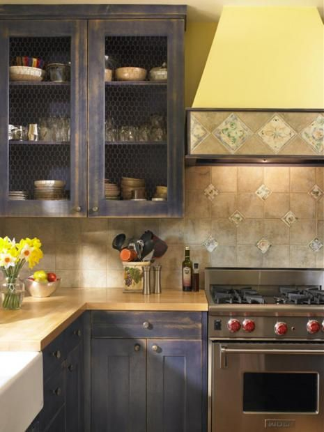 Distress cabinets for the home pinterest for Blue distressed kitchen cabinets