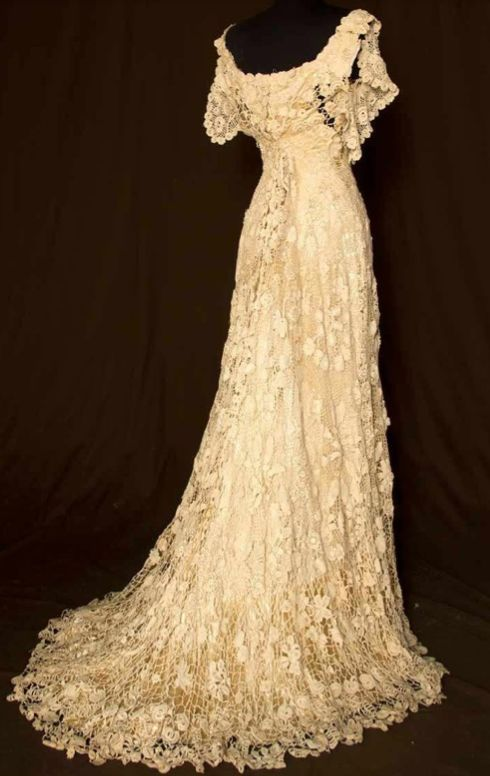 Irish crochet wedding gown wedding dresses pinterest for Crochet lace wedding dress pattern