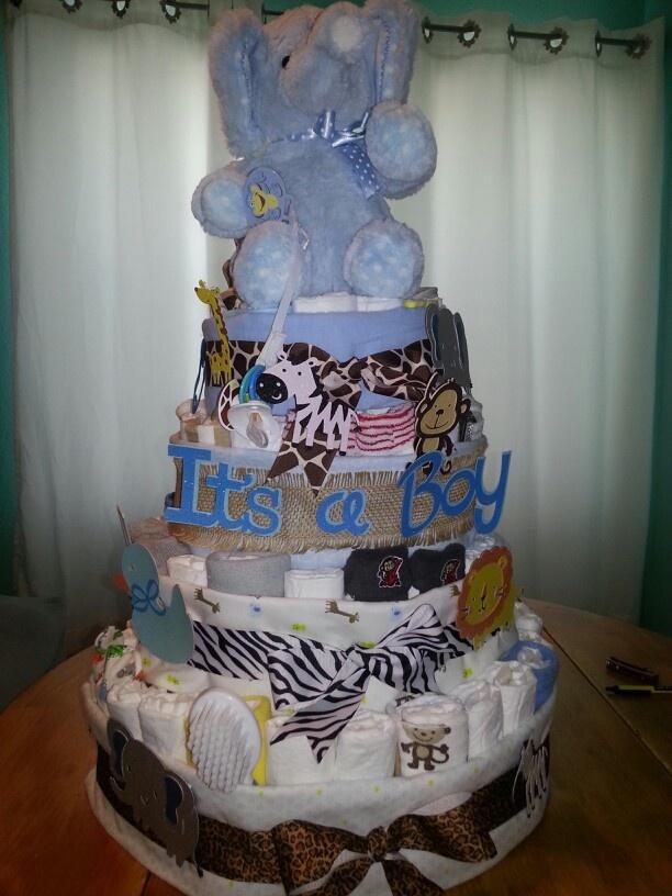 Baby Shower Zilla ~ Baby boy diaper cake safari theme cakes pinterest