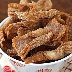 Churro wontons: wonton wrapper strips deep fried until crispy, and ...