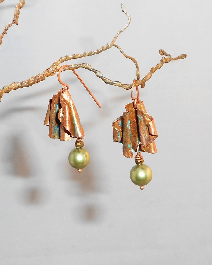 The Sumac Collection  Jewelry fold formed copper, freshwater pearl