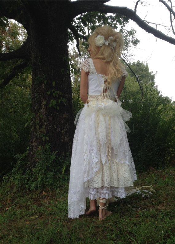 Boho wedding dress shabby chic wedding dress alternative for Wedding dresses shabby chic