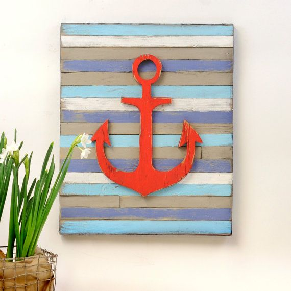 Anchor pallet nautical decor wall art for Anchor wall decoration