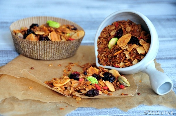 Coconut Granola with Almonds, Pistachios, Cranberries, Cheeries and ...