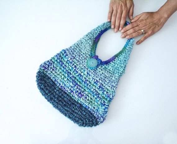 Back to School Sale Blue Sparkle Crochet Purse Bag by SunBrightDay, $ ...