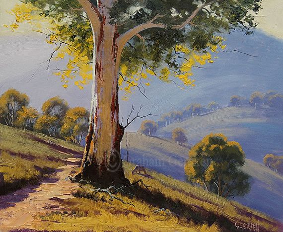 Gum trees painting commissioned australian artwork for Australian mural artists