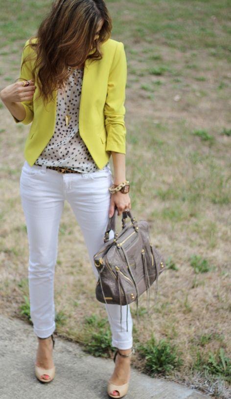 Yellow blazer + print top + white jeans