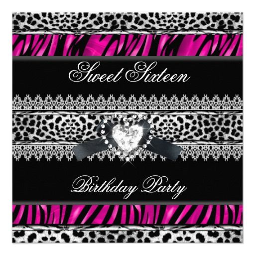 Sweet 16 Sixteen Zebra Leopard Pink Black Diamond Announcements