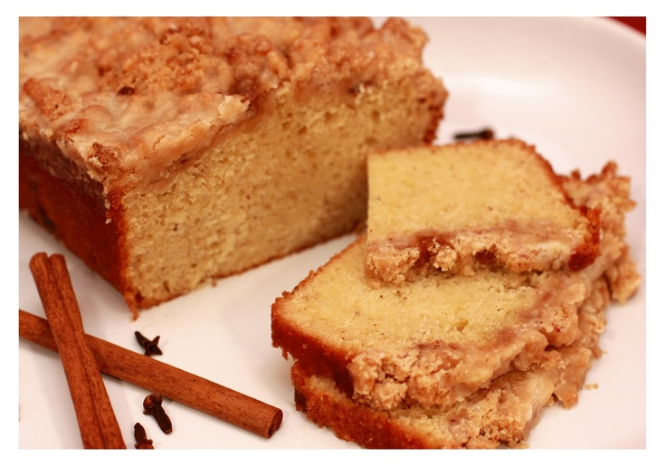 Egg Nog Crumb Cake with Spiced Rum Glaze