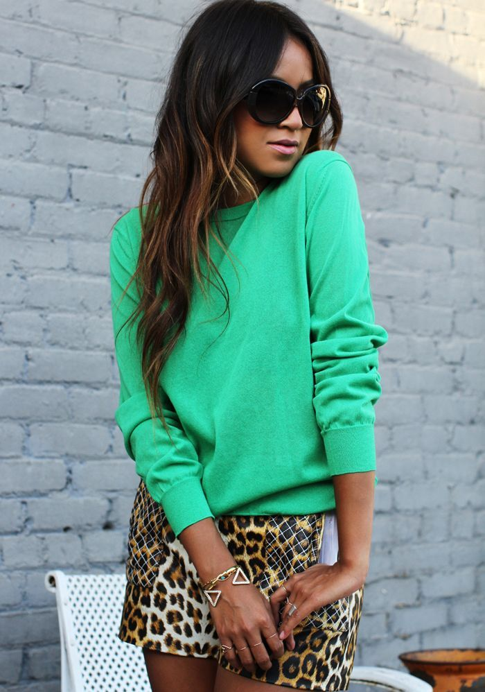 bright sweater and animal prints