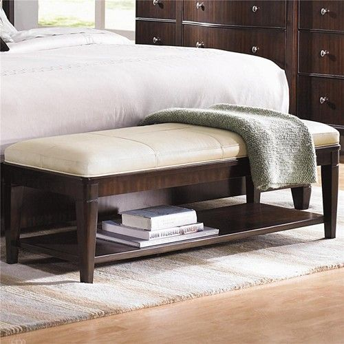 Westwood Cream Leather Upholstered Bench By Bernhardt