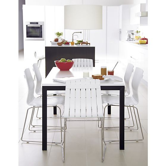 White top stainless steel base 48x28 parsons high dining table - Crate and barrel kitchen tables ...