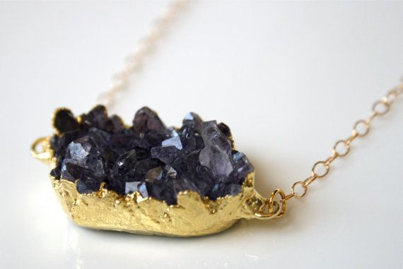 SALE Double Connected Purple Amethyst Stone Necklace Dipped in 24k Gold