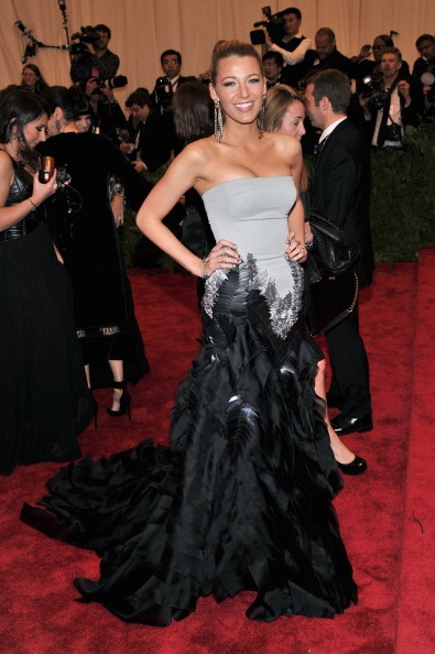 Blake Lively in grey and black Gucci at the Met Gala 2013