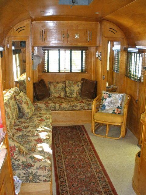 1951 vintage trailer interior. Really beautiful.