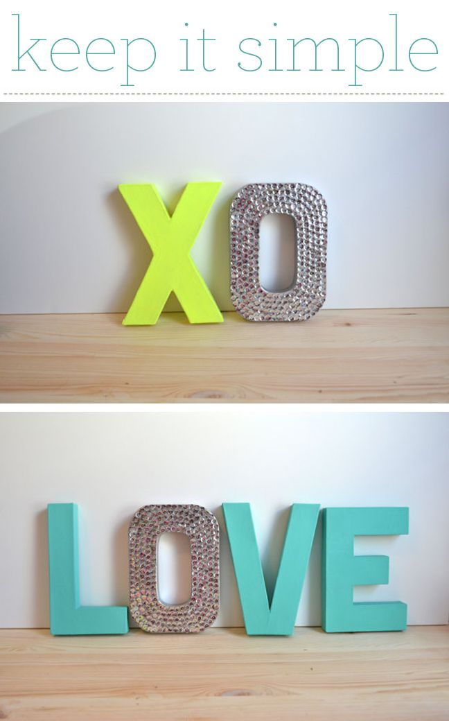 Neon letters with rhinestones.