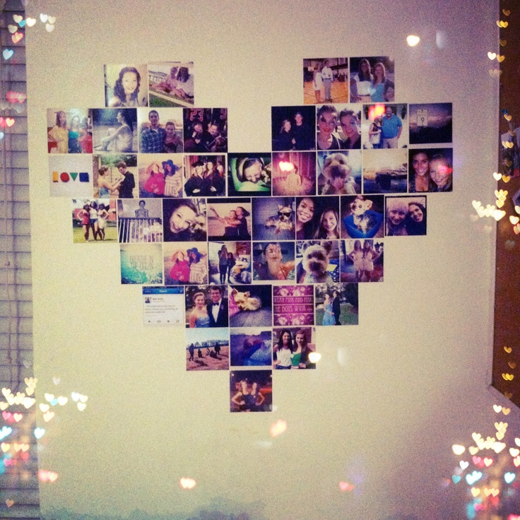 Heart shaped photo collage for my walls pinterest for Heart shaped decorations home