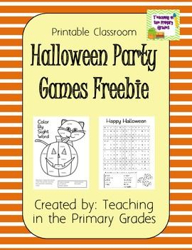 Printable Halloween Party Games Freebie! Includes a color by sight word page and a word search.