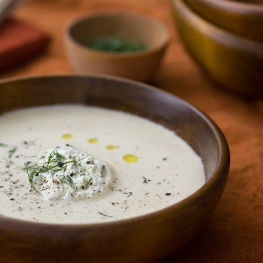 Roasted Cauliflower & Potato Soup with Dill Whipped Cream from @Matt Valk Chuah Kitchn #recipe #oliveoil #cauliflower