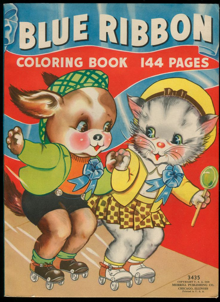 1939 UNCOLORED Merrill Blue Ribbon Coloring Book Cover Florence Sal