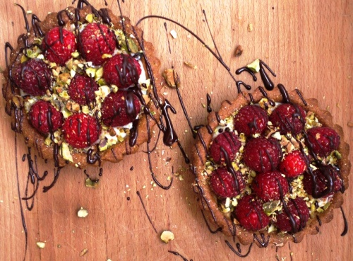 brown butter pistachio raspberry tarts