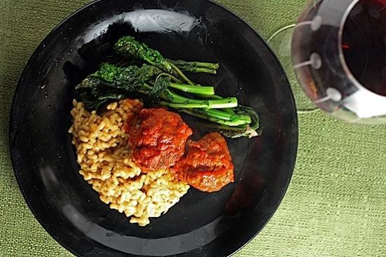 Spicy Pork Meatballs with Parmesan Risotto | Healthy Delicious