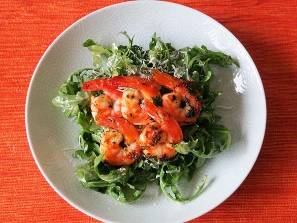 Arugula with Skinny Caesar Salad Dressing and Grilled Shrimp Serves 2 ...