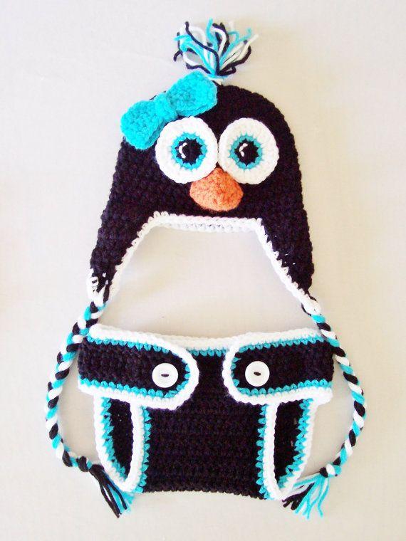 Newborn Baby Penguin Hat  amp  Diaper Cover Set by MadeBySvea on Etsy   40    Newborn Baby Penguin