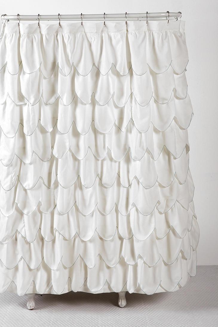 Kraken Shower Curtain Stitched scallop ruffle shower curtain