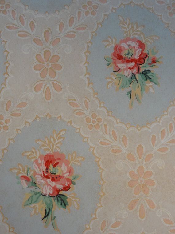 Vintage wallpaper pink rose cameo lace on blue 1 yard for Antique mural wallpaper