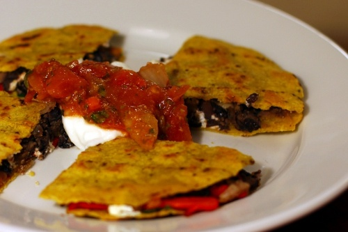 Black Bean, Roasted Pepper, and Goat Cheese Quesadillas