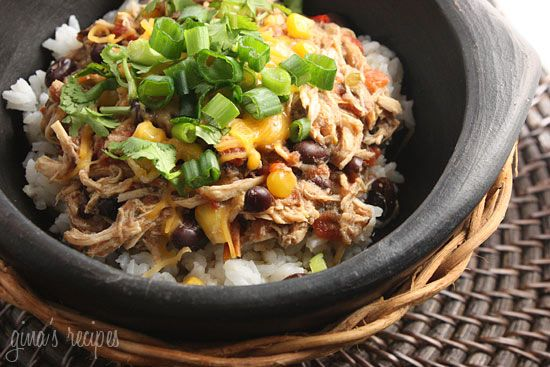 Slow cooked shredded chicken with corn, tomatoes and black beans.  Crock Pot Santa Fe Chicken | Skinnytaste