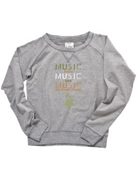 55th GRAMMYs Womens Triple Music Crew Pullover - Grey