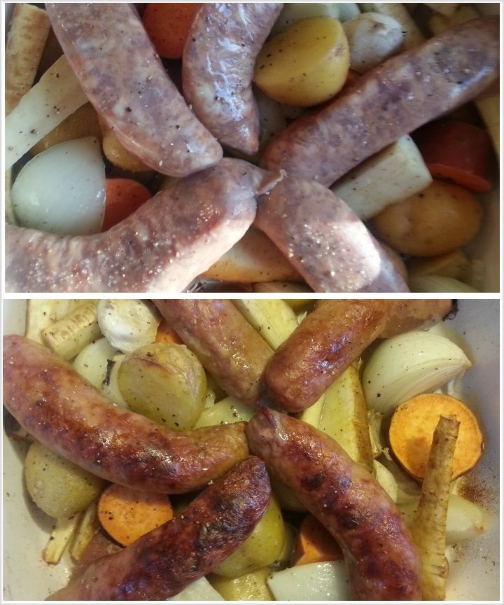 : Roasted Sausage with Root Vegetables - Pork sausage is slow roasted ...