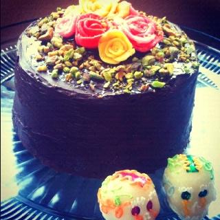 First Anniversary Pistachio Petit Four Cake