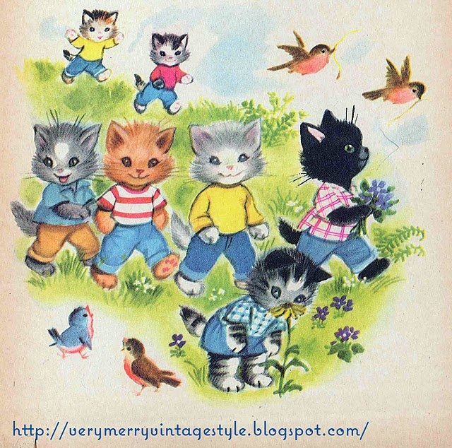 Last month I bought a vintage book from a gal on Etsy.  The book is called The Seven Wonderful Cats and this picture is from the book!  Awesomely cute illustrations!