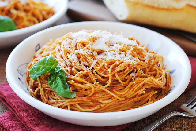 Red Pepper Pesto over Angel Hair Pasta | Gastronome: Pasta & Grains ...