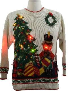 1980's Unisex Devil Bear Lightup Ugly Christmas Sweater. <-Actual description.