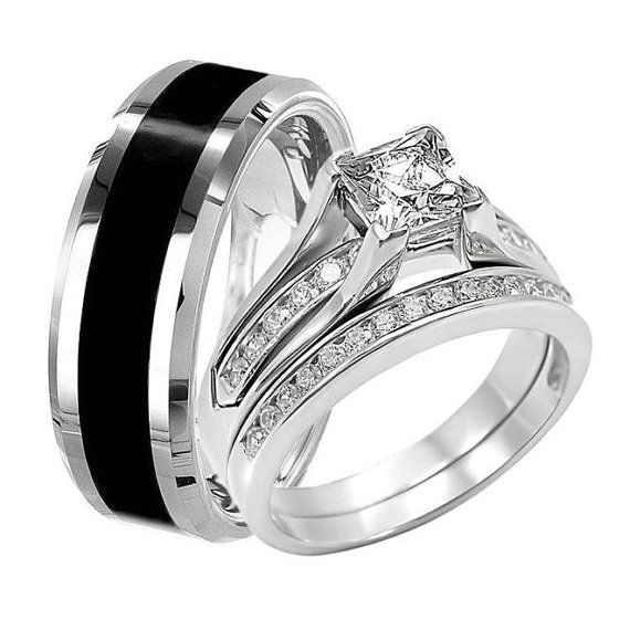Wedding Bands For Him And Her: Black TUNGSTEN Men Wedding Band 8mm Wide & Women PRINCESS